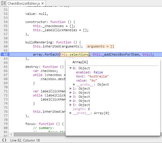 extended checkbox list - debugger