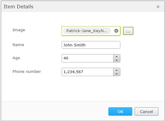 PropertyList form editor