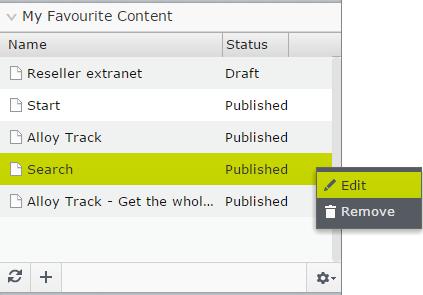 Favourite Content context menu