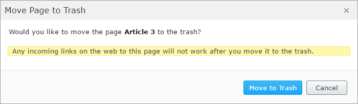 Deleting article - confirmation dialog