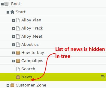New list hidden in tree