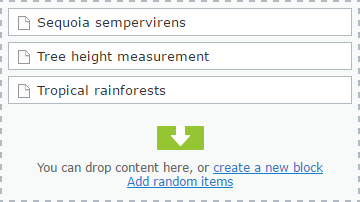 Adding random items to ContentArea