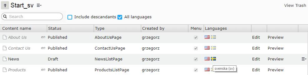 languages SV
