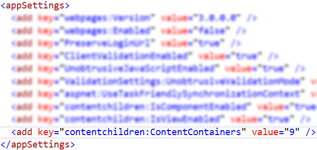 web.config ContentContainers